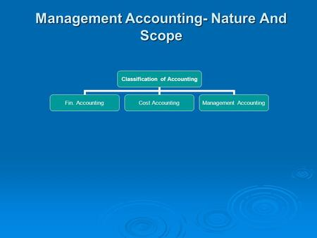 Management Accounting- Nature And Scope Classification of Accounting Fin. Accounting Cost Accounting Management Accounting.