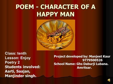 POEM - CHARACTER OF A HAPPY MAN