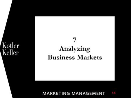 7 Analyzing Business Markets 1. Chapter Questions  What is the business market, and how does it differ from the consumer market?  What buying situations.