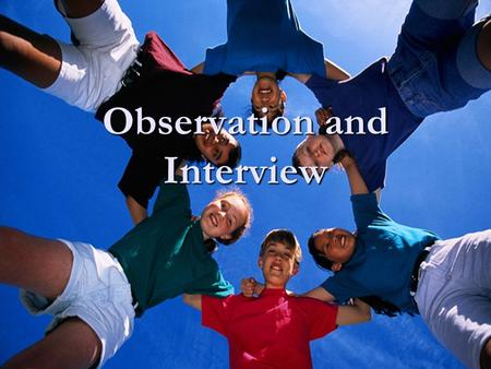 Observation and Interview. Growing Up I was always involved in physical education. I was always involved in physical education. It was my favorite subject.
