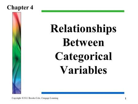 Copyright ©2011 Brooks/Cole, Cengage Learning Relationships Between Categorical Variables Chapter 4 1.