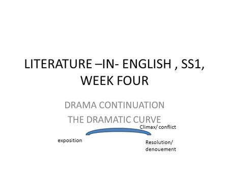 LITERATURE –IN- ENGLISH, SS1, WEEK FOUR DRAMA CONTINUATION THE DRAMATIC CURVE exposition Resolution/ denouement Climax/ conflict.