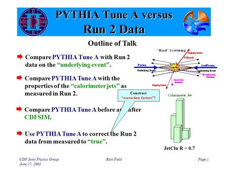 "CDF Joint Physics Group June 27, 2003 Rick FieldPage 1 PYTHIA Tune A versus Run 2 Data  Compare PYTHIA Tune A with Run 2 data on the ""underlying event""."