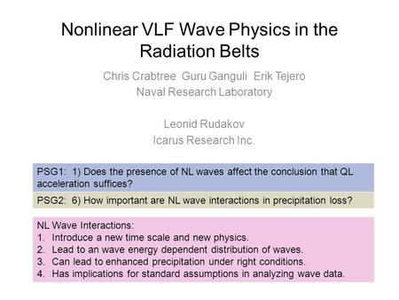 Nonlinear VLF Wave Physics in the Radiation Belts Chris Crabtree Guru Ganguli Erik Tejero Naval Research Laboratory Leonid Rudakov Icarus Research Inc.