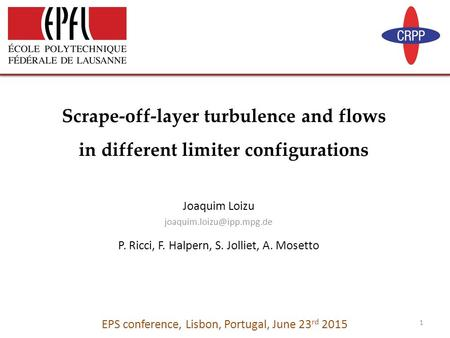 Joaquim Loizu P. Ricci, F. Halpern, S. Jolliet, A. Mosetto Scrape-off-layer turbulence and flows in different limiter configurations.