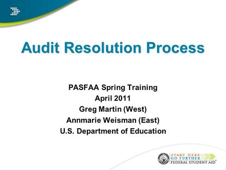 Audit Resolution Process PASFAA Spring Training April 2011 Greg Martin (West) Annmarie Weisman (East) U.S. Department of Education.