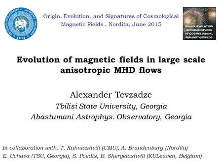 Origin, Evolution, and Signatures of Cosmological Magnetic Fields, Nordita, June 2015 Evolution of magnetic fields in large scale anisotropic MHD flows.