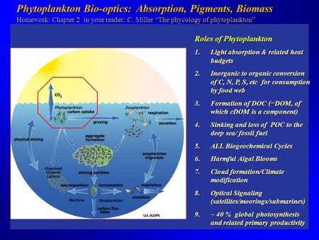 Phytoplankton Bio-optics: Absorption, Pigments, Biomass Phytoplankton Bio-optics: Absorption, Pigments, Biomass Homework: Chapter 2 in your reader: C.