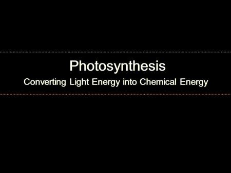 Photosynthesis Converting Light Energy into Chemical Energy.