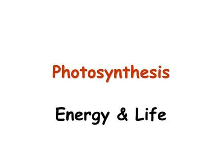 Photosynthesis Energy & Life.