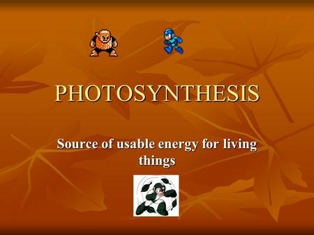 PHOTOSYNTHESIS Source of usable energy for living things.
