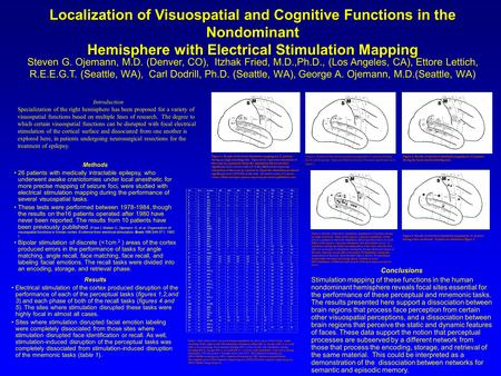 Localization of Visuospatial and Cognitive Functions in the Nondominant Hemisphere with Electrical Stimulation Mapping Steven G. Ojemann, M.D. (Denver,