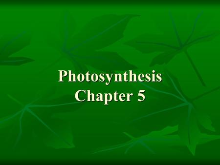 Photosynthesis Chapter 5. Outline I. Photosynthesis A. Introduction B. Reactions.
