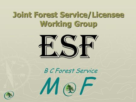 Joint Forest Service/Licensee Working Group ESF B C Forest Service M F.
