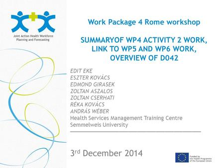 Work Package 4 Rome workshop SUMMARYOF WP4 ACTIVITY 2 WORK, LINK TO WP5 AND WP6 WORK, OVERVIEW OF D042 _____________________________ 3 rd December 2014.