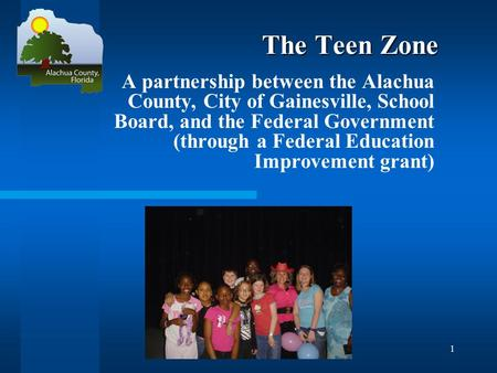 1 The Teen Zone A partnership between the Alachua County, City of Gainesville, School Board, and the Federal Government (through a Federal Education Improvement.