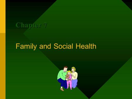 Family and Social Health Chapter 7. Health Goal #11: I Will Develop Healthful Family Relationships A family is a group of people who are related by blood,