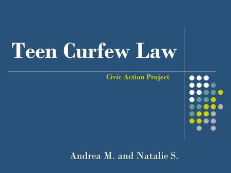 Teen Curfew Law Civic Action Project Andrea M. and Natalie S.