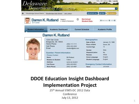 1 DDOE Education Insight Dashboard Implementation Project 25 th Annual STATS-DC 2012 Data Conference July 13, 2012.