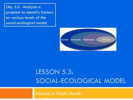 Lesson 5.3: Social-Ecological Model