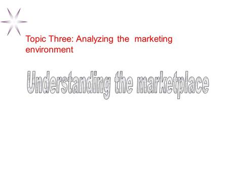 Topic Three: Analyzing the marketing environment.