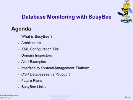 Database Monitoring with BusyBee Agenda  What is BusyBee ?  Architecture  XML Configuration File  Domain Inspectors  Alert Examples  Interface to.