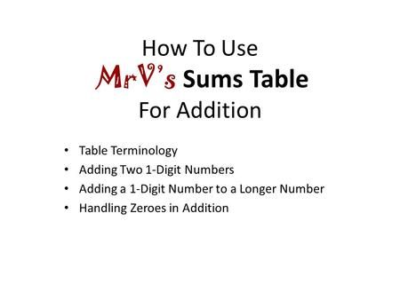 How To Use MrV's Sums Table For Addition Table Terminology Adding Two 1-Digit Numbers Adding a 1-Digit Number to a Longer Number Handling Zeroes in Addition.