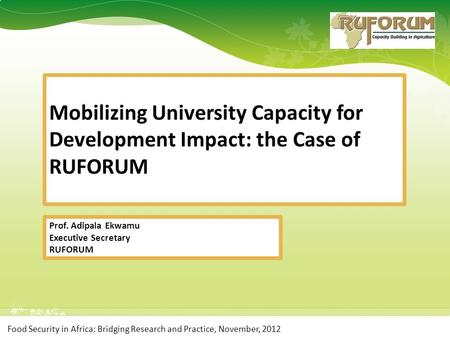Food Security in Africa: Bridging Research and Practice, November, 2012 Prof. Adipala Ekwamu Executive Secretary RUFORUM Mobilizing University Capacity.