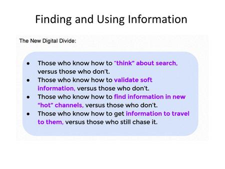 Finding and Using Information. Curating Content curation is the process of sorting through the vast amounts of content on the web and presenting it in.