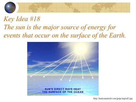 Key Idea #18 The sun is the major source of energy for events that occur on the surface of the Earth. http://hurricanetrack.com/jpegs/ingred1.jpg.