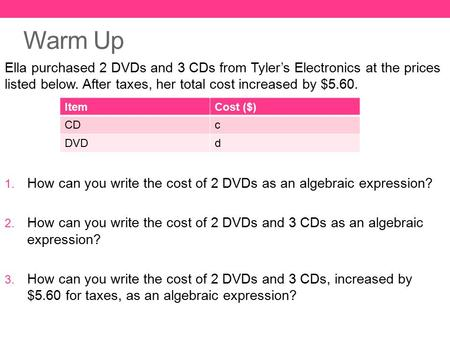 Warm Up Ella purchased 2 DVDs and 3 CDs from Tyler's Electronics at the prices listed below. After taxes, her total cost increased by $5.60. How can you.