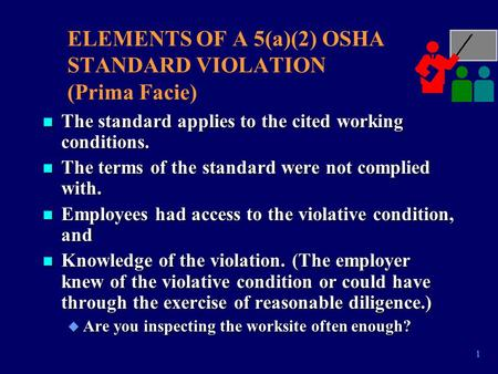 1 ELEMENTS OF A 5(a)(2) OSHA STANDARD VIOLATION (Prima Facie) n The standard applies to the cited working conditions. n The terms of the standard were.