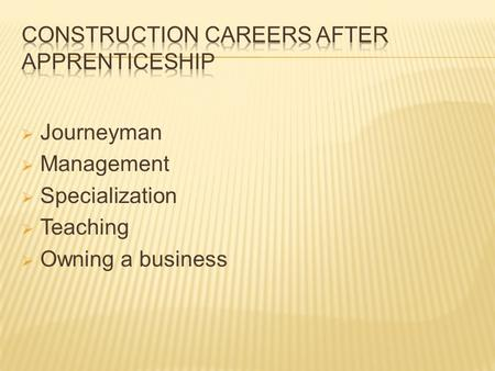  Journeyman  Management  Specialization  Teaching  Owning a business.