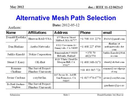 Submission doc.: IEEE 11-12/0621r2 May 2012 Donald Eastlake 3rd, HuaweiSlide 1 Alternative Mesh Path Selection Date: 2012-05-12 Authors: