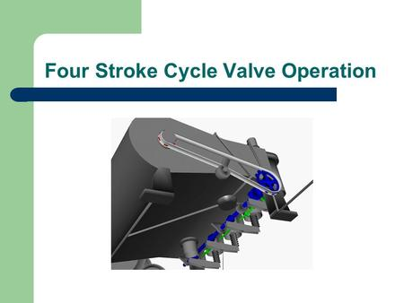 Four Stroke Cycle Valve Operation. This figure shows typical valves for a four stroke engine These valves operate by means of a gear-and- cam arrangement.