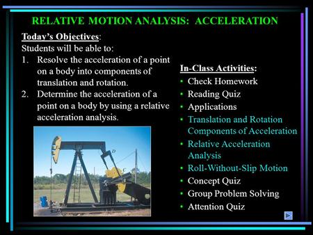 Today's Objectives: Students will be able to: 1.Resolve the acceleration of a point on a body into components of translation and rotation. 2.Determine.