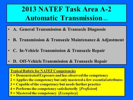 2013 NATEF Task Area A-2 Automatic Transmission 7-2013 A. General Transmission & Transaxle Diagnosis B. Transmission & Transaxle Maintenance & Adjustment.