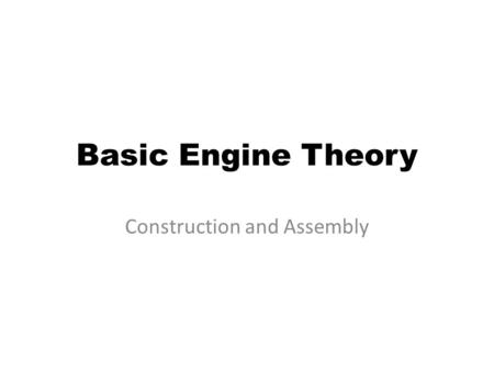 Basic Engine Theory Construction and Assembly. Bare V-type Block.