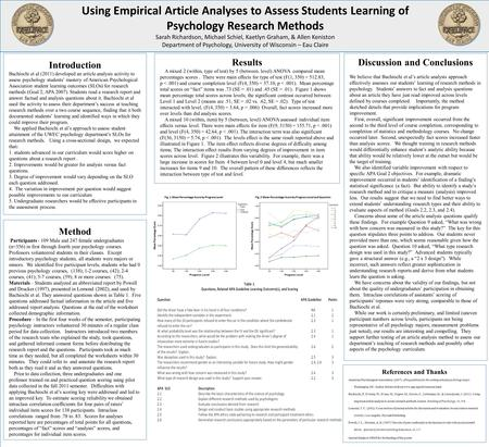 Using Empirical Article Analyses to Assess Students Learning of Psychology Research Methods Sarah Richardson, Michael Schiel, Kaetlyn Graham, & Allen Keniston.