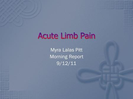 Myra Lalas Pitt Morning Report 9/12/11