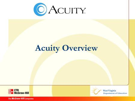 Acuity Overview. Agenda Intro to Acuity Background Components Terminology Class Activity Timeframes.