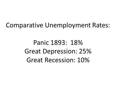 Comparative Unemployment Rates: Panic 1893: 18% Great Depression: 25% Great Recession: 10%