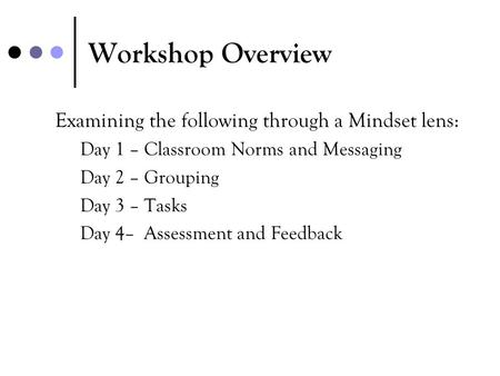 Workshop Overview Examining the following through a Mindset lens: Day 1 – Classroom Norms and Messaging Day 2 – Grouping Day 3 – Tasks Day 4– Assessment.