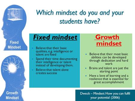Which mindset do you and your students have? Fixed mindset Believe that their basic qualities, e.g. intelligence or talent are fixed Spend their time documenting.