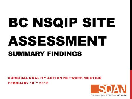 BC NSQIP SITE ASSESSMENT SUMMARY FINDINGS SURGICAL QUALITY ACTION NETWORK MEETING FEBRUARY 18 TH 2015.