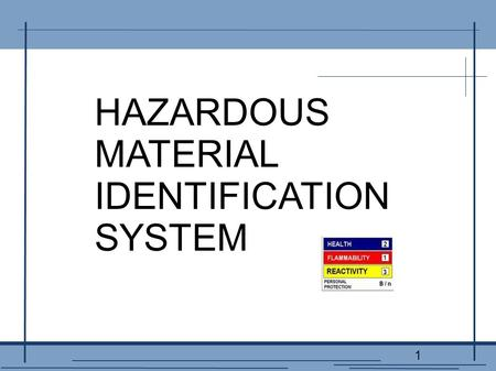 1 HAZARDOUS MATERIAL IDENTIFICATION SYSTEM. 2 A TRAINING PRESENTATION OF THE BRUNSWICK HILLS POLICE DEPARTMENT.