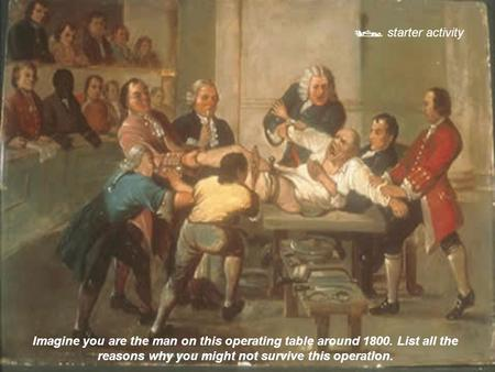  starter activity Imagine you are the man on this operating table around 1800. List all the reasons why you might not survive this operation.