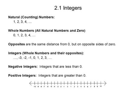 2.1 Integers Natural (Counting) Numbers: 1, 2, 3, 4, … Whole Numbers (All Natural Numbers and Zero) 0, 1, 2, 3, 4, … Opposites are the same distance from.