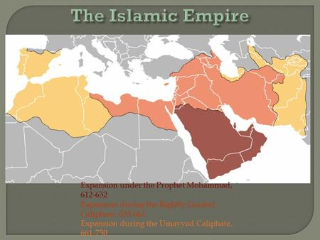 Expansion under the Prophet Mohammad, 612-632 Expansion during the Rightly Guided Caliphate, 635-661 Expansion during the Umayyad Caliphate, 661-750.