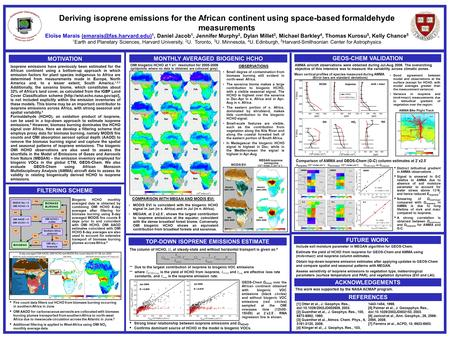 Deriving isoprene emissions for the African continent using space-based formaldehyde measurements Eloïse Marais 1, Daniel Jacob.